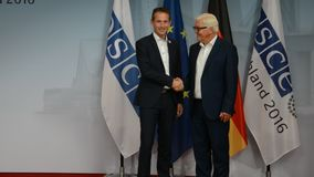 Federal Foreign Minister Dr Frank-Walter Steinmeier welcomes Kristian Jensen. POTSDAM, GERMANY. SEPTEMBER 1ST, 2016: Federal Foreign Minister Dr Frank-Walter stock footage