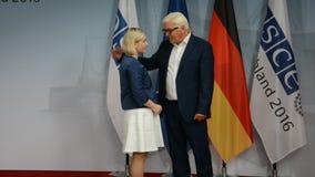 Federal Foreign Minister Dr Frank-Walter Steinmeier welcomes Lilja Dogg Alfredsdottir. POTSDAM, GERMANY. SEPTEMBER 1ST, 2016: Federal Foreign Minister Dr Frank stock footage