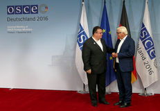 Federal Foreign Minister Dr Frank-Walter Steinmeier welcomes Linas Antanas Linkevicius Royalty Free Stock Image