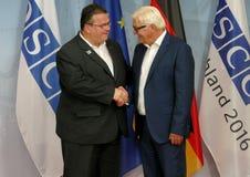 Federal Foreign Minister Dr Frank-Walter Steinmeier welcomes Linas Antanas Linkevicius Stock Photos