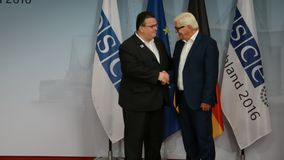 Federal Foreign Minister Dr Frank-Walter Steinmeier welcomes Linas Antanas Linkevicius. POTSDAM, GERMANY. SEPTEMBER 1ST, 2016: Federal Foreign Minister Dr Frank stock video footage