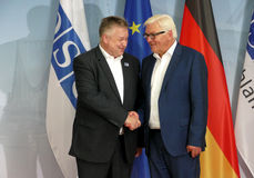 Federal Foreign Minister Dr Frank-Walter Steinmeier welcomes Michael Link Stock Photo