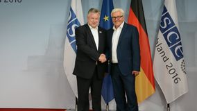 Federal Foreign Minister Dr Frank-Walter Steinmeier welcomes Michael Link. POTSDAM, GERMANY. SEPTEMBER 1ST, 2016: Federal Foreign Minister Dr Frank-Walter stock footage