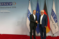 Federal Foreign Minister Dr Frank-Walter Steinmeier welcomes Mikheil Janelidze Royalty Free Stock Image