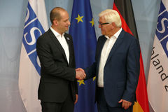 Federal Foreign Minister Dr Frank-Walter Steinmeier welcomes Mikheil Janelidze Stock Photography