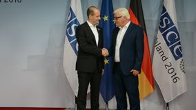 Federal Foreign Minister Dr Frank-Walter Steinmeier welcomes Mikheil Janelidze. POTSDAM, GERMANY. SEPTEMBER 1ST, 2016: Federal Foreign Minister Dr Frank-Walter stock footage