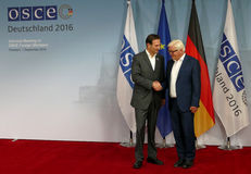 Federal Foreign Minister Dr Frank-Walter Steinmeier welcomes Miro Kovac Royalty Free Stock Images