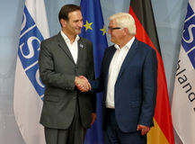 Federal Foreign Minister Dr Frank-Walter Steinmeier welcomes Miro Kovac Stock Photo