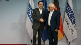Federal Foreign Minister Dr Frank-Walter Steinmeier welcomes Miro Kovac. POTSDAM, GERMANY. SEPTEMBER 1ST, 2016: Federal Foreign Minister Dr Frank-Walter stock footage
