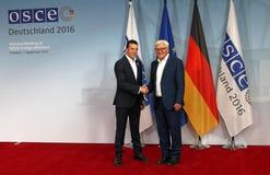 Federal Foreign Minister Dr Frank-Walter Steinmeier welcomes Nikola Poposki stock photography