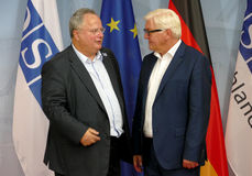 Federal Foreign Minister Dr Frank-Walter Steinmeier welcomes Nikos Kotsiaz Stock Photo