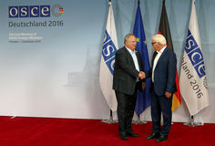 Federal Foreign Minister Dr Frank-Walter Steinmeier welcomes Nikos Kotsiaz Royalty Free Stock Images