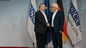Federal Foreign Minister Dr Frank-Walter Steinmeier welcomes Nikos Kotsiaz. POTSDAM, GERMANY. SEPTEMBER 1ST, 2016: Federal Foreign Minister Dr Frank-Walter stock video footage