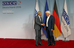 Federal Foreign Minister Dr Frank-Walter Steinmeier welcomes Paolo Gentiloni Stock Photography