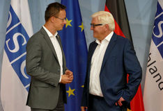 Federal Foreign Minister Dr Frank-Walter Steinmeier welcomes Peter Szijjarto Royalty Free Stock Photography