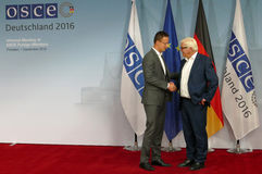 Federal Foreign Minister Dr Frank-Walter Steinmeier welcomes Peter Szijjarto Royalty Free Stock Photo