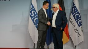 Federal Foreign Minister Dr Frank-Walter Steinmeier welcomes Peter Szijjarto. POTSDAM, GERMANY. SEPTEMBER 1ST, 2016: Federal Foreign Minister Dr Frank-Walter stock video footage
