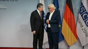Federal Foreign Minister Dr Frank-Walter Steinmeier welcomes Sirodjidin Aslov. POTSDAM, GERMANY. SEPTEMBER 1ST, 2016: Federal Foreign Minister Dr Frank-Walter stock video