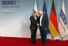 Federal Foreign Minister Dr Frank-Walter Steinmeier welcomes Vladimir Makei Stock Photos