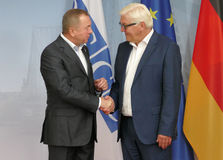 Federal Foreign Minister Dr Frank-Walter Steinmeier welcomes Vladimir Makei Stock Images