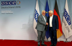 Federal Foreign Minister Dr Frank-Walter Steinmeier welcomes Witold Waszczykowski Royalty Free Stock Photo
