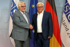 Federal Foreign Minister Dr Frank-Walter Steinmeier welcomes Witold Waszczykowski Royalty Free Stock Image