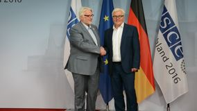 Federal Foreign Minister Dr Frank-Walter Steinmeier welcomes Witold Waszczykowski. POTSDAM, GERMANY. SEPTEMBER 1ST, 2016: Federal Foreign Minister Dr Frank stock video footage