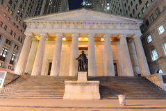 Federal Hall. At night, the first capitol of the United States of America Royalty Free Stock Photo