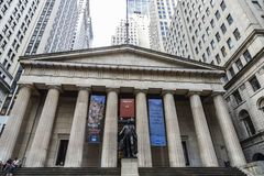 Federal Hall National Memorial in New York City, USA. New York City, USA - August 1, 2018: Facade of the Federal Hall National Memorial and the statue of George royalty free stock image