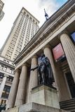 Federal Hall National Memorial in New York City, USA. New York City, USA - August 1, 2018: Facade of the Federal Hall National Memorial and the statue of George royalty free stock photography