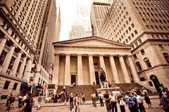 Federal Hall in New York City. NEW YORK - AUGUST 18 : Federal Hall, built in 1700 , is the site of George Washington's 1789 inauguration as the first President stock photo