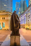 Federal Hall in New York. New York City cityscape at Wall Street from Federal Hall stock photos