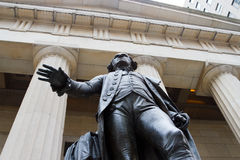 Federal Hall on Wall St., NY. The statue of George Washington at the Federal Hall in the financial district of downtown Manhattan, New York stock photo