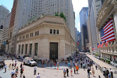 Federal Hall and Wall Street. A view of the Stock Exchange on Wall Street Royalty Free Stock Images