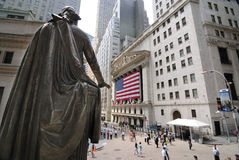 Federal Hall and Wall Street Stock Image