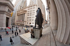 Federal Hall and Wall Street Stock Photos