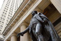 Federal Hall, Wall Street, New York. The statue of George Washington at the Federal Hall in the financial district of downtown Manhattan, New York Stock Photography