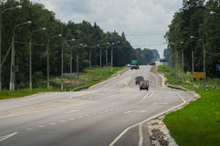 Federal highway in the Kaluga region of Russia. Royalty Free Stock Photos