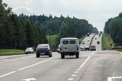 Federal highway in the Kaluga region of Russia. Royalty Free Stock Image