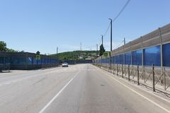 Federal highway A146 Krasnodar-Verkhnebakansky, equipped with noise screens, near the village of Nizhnebakanskaya, Krasnodar regio stock photo