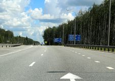 Federal highway m-7. Moscow-Nizhny Novgorod. Journey through the Gorky Highway. Federal highway M-7. View from the car window. Moscow and Vladimir region. July Royalty Free Stock Images