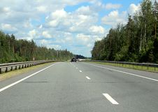 Federal highway m-7. Moscow-Nizhny Novgorod. Journey through the Gorky Highway. Federal highway M-7. View from the car window. Moscow and Vladimir region. July Royalty Free Stock Photo