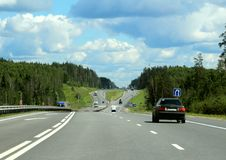 Federal highway m-7. Moscow-Nizhny Novgorod. Journey through the Gorky Highway. Federal highway M-7. View from the car window. Moscow and Vladimir region. July Stock Images