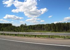 Federal highway m-7. Moscow-Nizhny Novgorod. Journey through the Gorky Highway. Federal highway M-7. View from the car window. Moscow and Vladimir region. July Stock Photo