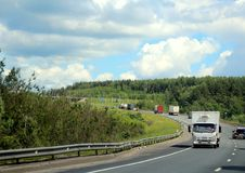Federal highway m-7. Moscow-Nizhny Novgorod. Journey through the Gorky Highway. Federal highway M-7. View from the car window. Moscow and Vladimir region. July Stock Image