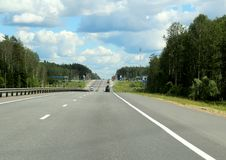 Federal highway m-7. Moscow-Nizhny Novgorod. Journey through the Gorky Highway. Federal highway M-7. View from the car window. Moscow and Vladimir region. July Royalty Free Stock Image
