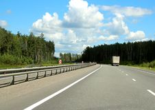 Federal highway m-7. Moscow-Nizhny Novgorod. Journey through the Gorky Highway. Federal highway M-7. View from the car window. Moscow and Vladimir region. July Royalty Free Stock Photos