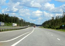Federal highway m-7. Moscow-Nizhny Novgorod. 195 kilometers from Moscow. Journey through the Gorky Highway. Federal highway M-7. View from the car window Stock Image