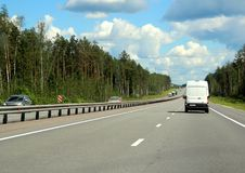 Federal highway m-7. Moscow-Nizhny Novgorod. 204 kilometers from Moscow. Journey through the Gorky Highway. Federal highway M-7. View from the car window Royalty Free Stock Photography