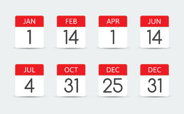 Federal holiday calendar in the USA Royalty Free Stock Photography
